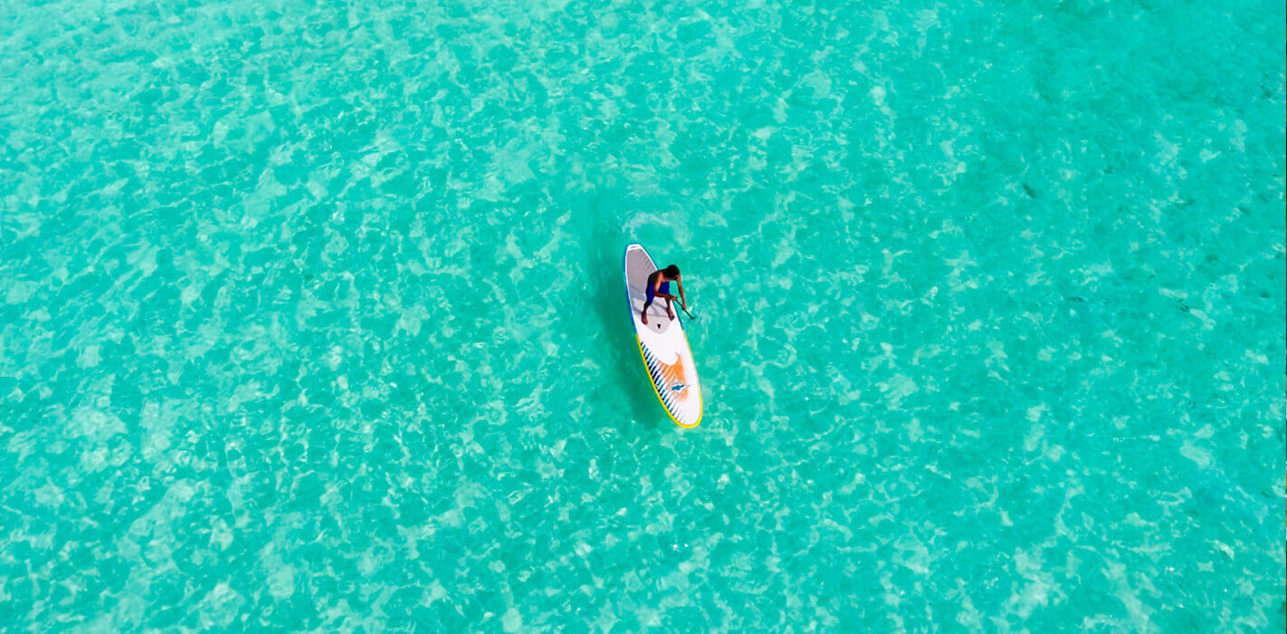 Practice paddle surfing in Mallorca